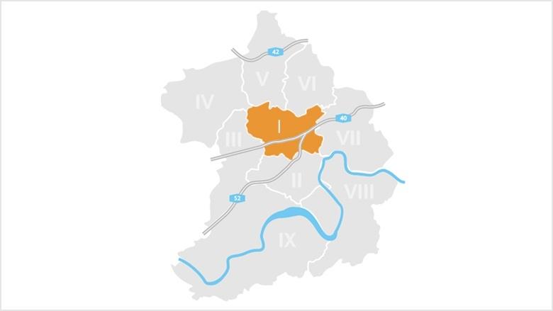Bezirk I: Stadtmitte, Frillendorf und Huttrop