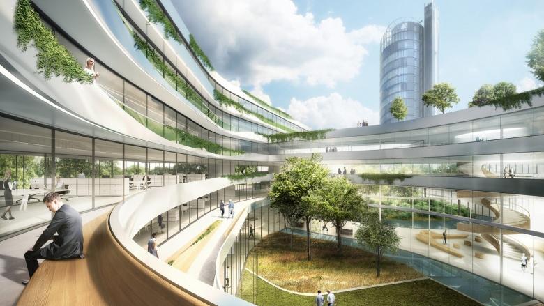 Visualisierung der neuen Konzernzentrale; HOCHTIEF; Copyright : © sop-architekten
